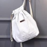 双肩背包束口袋少女背袋图案简易女中抽绳帆布袋拉带轻便系带书包