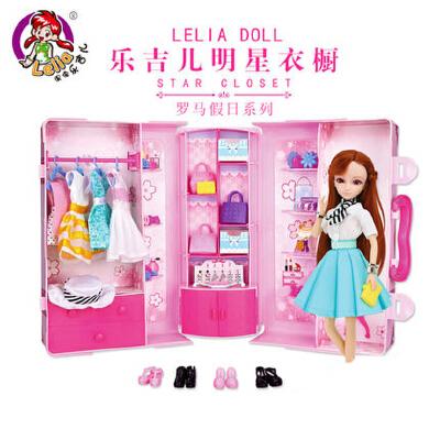 乐吉儿梦幻明星衣橱芭芘娃娃衣服套装大礼盒女孩公主DIY玩具屋