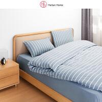 海澜优选床上用品套件家纺日式简约条纹格纹水洗棉床单款四件套
