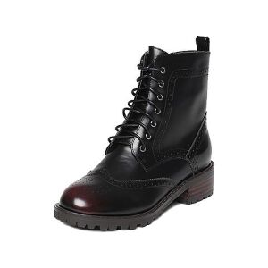 Tata/他她冬黑/红牛皮英伦雕花擦色绑带方跟女皮靴2U405DD6