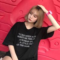 字母T恤女2018夏装新款韩版bf风宽松显瘦圆领休闲短袖上衣学生潮