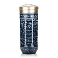乾唐轩活瓷大富贵祥龙随身杯双层陶瓷保温水杯子办公商务礼品