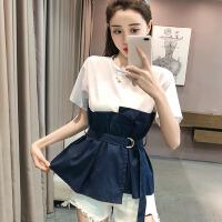 短袖T恤女夏季2018小清新拼接假两件衬衫裙摆荷叶边收腰上衣