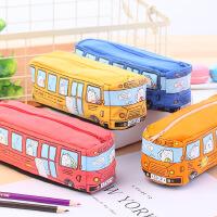 创意中小学生笔袋男儿童卡通巴士汽车文具袋铅笔盒帆布大容量笔盒