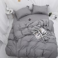 纯色四件套款蝴蝶结磨毛被套床单1.5m床笠床上用品三件套4