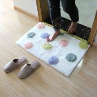 田园小清新地垫浴室门口吸水地垫卫生间加厚吸水脚垫地毯 白色 美茵-彩色圆点
