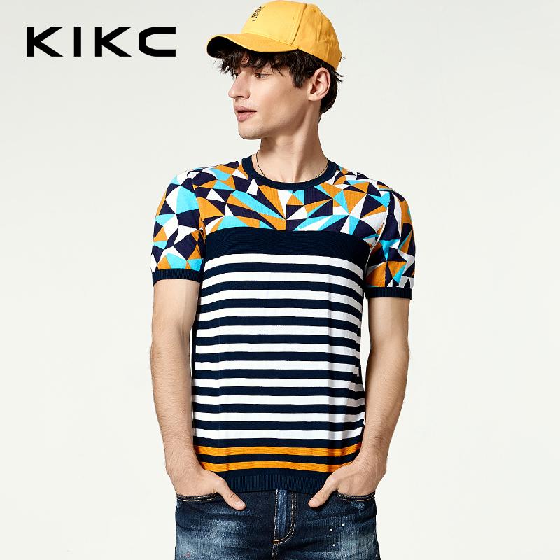 kikc男装2017夏季专柜新品短袖休闲上衣时尚针织衫T恤