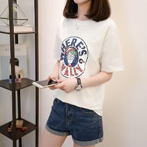 短袖女2018新款夏装白色t恤学生宽松韩版