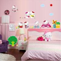 可爱猫KT墙贴纸卧室卡通儿童少女心软妹房间装饰床头贴画自粘壁纸 大