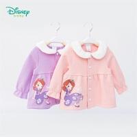 迪士尼Disney童装 女童仿兔毛娃娃领长袖外套新品索菲亚公主印花上衣 193S1240