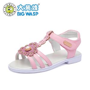 大黄蜂童鞋 女童凉鞋2018新款韩版夏季 儿童凉鞋平底小女孩公主鞋