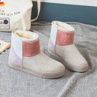 雪地靴女冬季2018新款短筒韩版百搭学生短靴棉鞋加绒加厚防水靴子