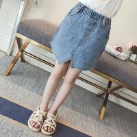 女童裙子夏装牛仔半身裙儿童装开叉短裙夏季女孩时髦潮衣
