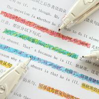 日本文具大赏普乐士PLUS蜡笔荧光修饰带创意文具笔日记手账做笔记专用标记笔按压式彩色修正带可爱花边装饰