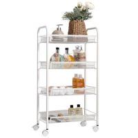 厨房架子 多层推车可移动置物架 带轮架子 储物层架 网篮架