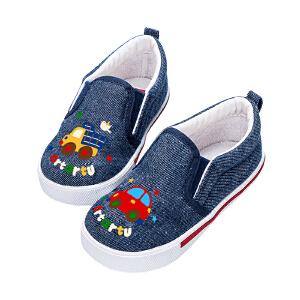 2018新品一脚蹬帆布鞋宝宝休闲鞋男女儿童板鞋防滑易穿脱宝宝休闲鞋
