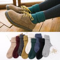 秋冬新品加厚保暖袜子女羊毛堆堆袜中筒宽口冬季羊毛女士袜子纯色