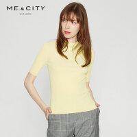 【1件2.5折到手价:84.8】MECITY女ins纯色修身打底短袖毛衫上衣