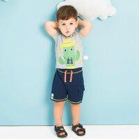 美特斯邦威旗下 moomoo童装小孩衣服儿童夏装男纯棉短袖T恤休闲短裤套装
