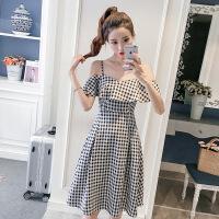 2018夏装新款chic韩版女装高腰显瘦黑白格子吊带连衣裙潮 黑白格