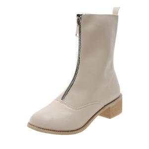 WARORWAR新品YM125-A001冬季韩版低跟女士靴子中筒靴