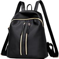 双肩包女韩版潮女包包时尚软皮个性学生书包妈咪背包 黑色简约