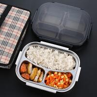 学生儿童食堂分格餐盘餐盒不锈钢保温饭盒带盖便当盒