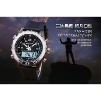 三达表豪金三针男运动防水个性潮流高档品牌手表双显夜光