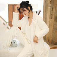 白色珊瑚绒睡衣女冬季加厚加绒中长款睡袍性感吊带三件套装家居服