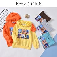 【3折价:39.9】铅笔俱乐部童装2020春装新款男童连帽卫衣中大童上衣女童长袖卫衣
