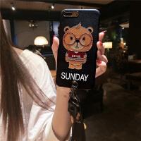 浮雕苹果7plus手机壳X女款6s硅胶iphone6p挂绳软套潮新可爱卡通熊