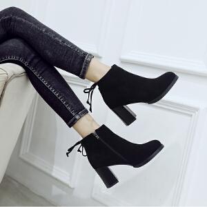 ZHR2018秋冬季新款韩版粗跟裸靴高跟短靴复古单靴百搭切尔西女靴