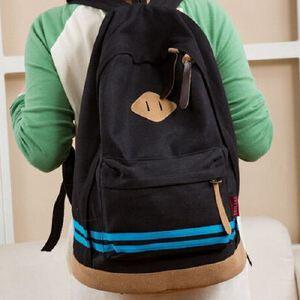 横条猪鼻子学生帆布包韩版 撞色休闲双肩包 情侣旅行书包