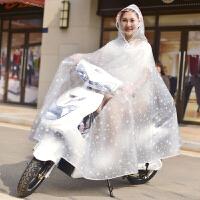 透明雨批电动自行车骑行加大加厚摩托车雨披 无后视镜套双帽檐-雪花白 818单人