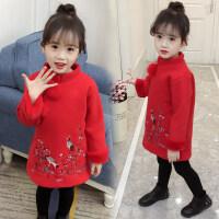 儿童唐装冬男童套装中国风过年喜庆宝宝装拜年衣服新年女童装红色