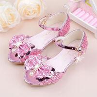 女童高跟公主凉鞋时尚儿童鱼嘴鞋金色可爱亮片蝴蝶结夏季