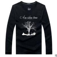 2017秋新款韩版男士纯棉圆领长袖T恤 男式大码t恤 幸运树