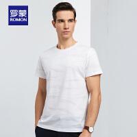 罗蒙男士短袖t恤衫2020夏季薄款圆领提花上衣中青年时尚修身T恤衫