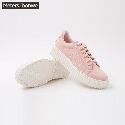 【2件4折到手价:119.6】美特斯邦威女鞋板鞋新款时尚系带松糕鞋休闲鞋202560 女 S