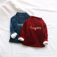 金丝绒刺绣字母 男女宝宝保暖打底上衣1-3-4岁加绒双层半高领上衣