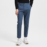 【1件2.5折到手价:99.8】MECITY男装冬季新款纯色斜纹小脚裤休闲裤子男