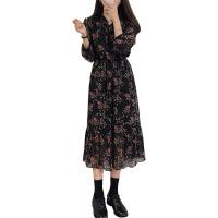 明星同款2019春秋季新款韩版修身显瘦气质打底裙碎花雪纺连衣裙女