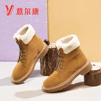 意尔康女鞋加绒保暖女靴子粗跟女短靴马丁靴女