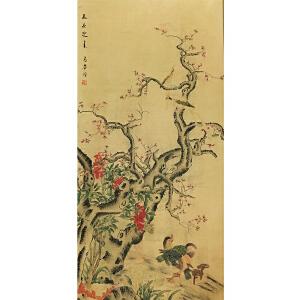马荃《花鸟轴》纸本立轴
