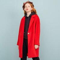 【1件3折�r:147】美特斯邦威毛呢大衣女中�L款冬�b新款�@瘦呢外套�n版商�隹�R