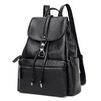 新款真皮双肩包女韩版潮学院风书包旅行背包休闲头层牛皮女包 黑色 锁扣背包