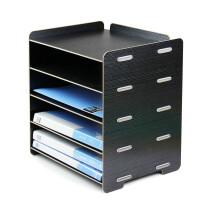 86文件架创意办公用品桌面A4文件筐5层资料收纳架木质文件架 黑色 银黑