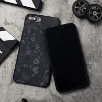 潮牌iphone8手机壳新款苹果xs max涂鸦ins风创意7plus潮男6sp软壳 纯黑7/8 PLUS 5.5寸