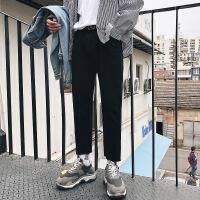 冬季牛仔裤加绒加厚韩版宽松直筒修身学生简约百搭潮流九分裤子