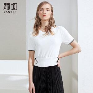 颜域2018夏季新款女士短款修身显瘦针织衫女薄款罗纹收腰简约上衣